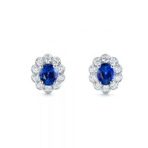 Blue Sapphire and Diamond Floral Stud Earrings