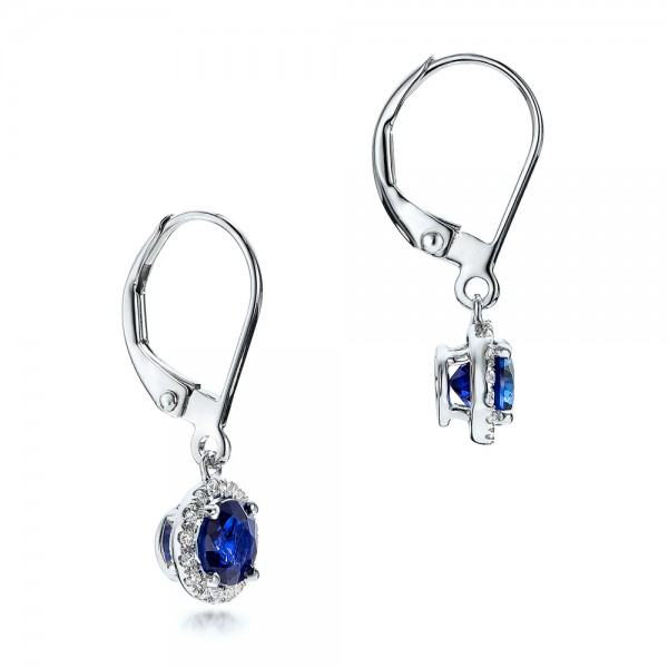 Blue Sapphire and Diamond Halo Drop Earrings - Flat View -  101031 - Thumbnail