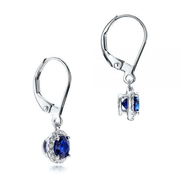 14k White Gold Blue Sapphire And Diamond Halo Drop Earrings - Front View -  101031