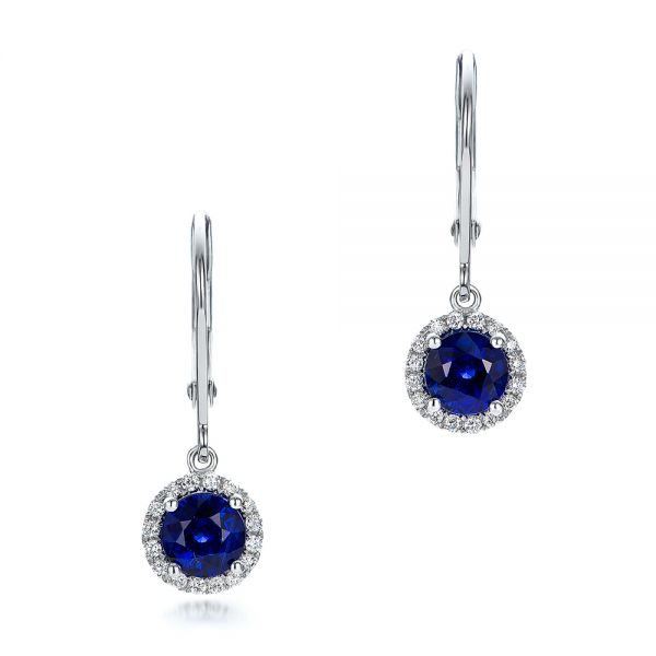 14k White Gold Blue Sapphire And Diamond Halo Drop Earrings - Three-Quarter View -  101031