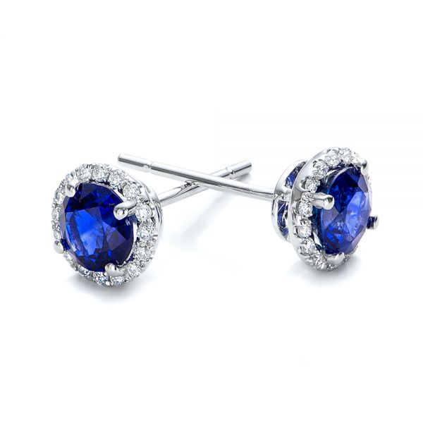 Blue Sapphire And Diamond Halo Earrings - Front View -  101020