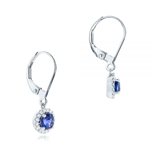 Blue Sapphire And Diamond Halo Earrings - Front View -