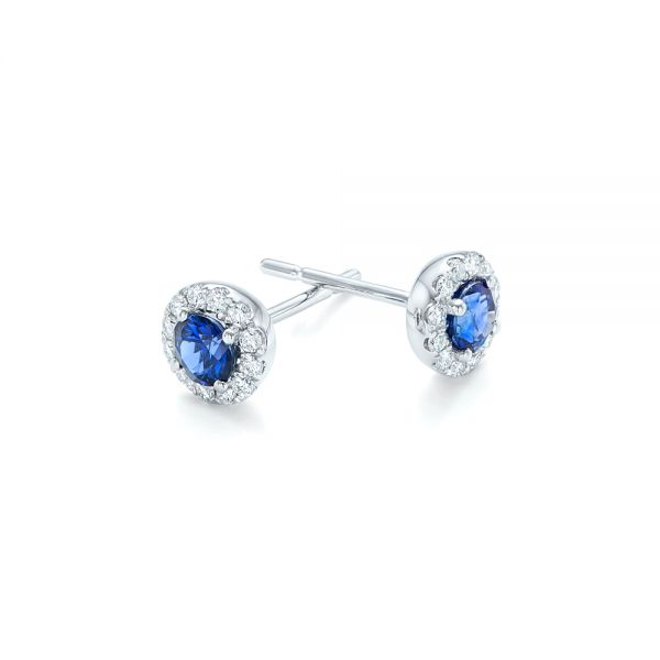 Blue Sapphire and Diamond Halo Earrings - Front View -  102669 - Thumbnail