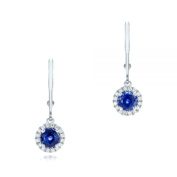 Blue Sapphire And Diamond Halo Earrings - Three-Quarter View -