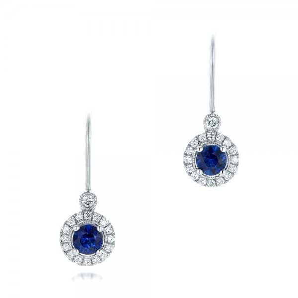 Blue Sapphire and Diamond Halo Leverback Earrings