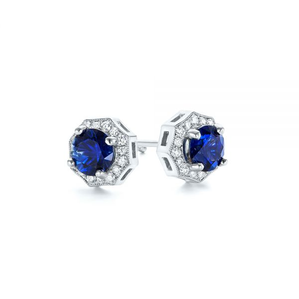 Blue Sapphire and Diamond Halo Stud Earrings - Laying View