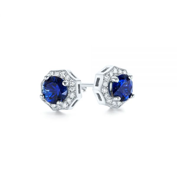 18k White Gold Blue Sapphire And Diamond Halo Stud Earrings - Front View -