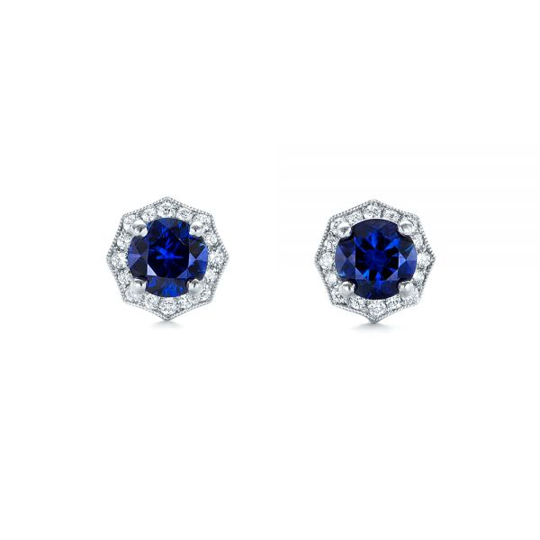 18k White Gold Blue Sapphire And Diamond Halo Stud Earrings - Top View -