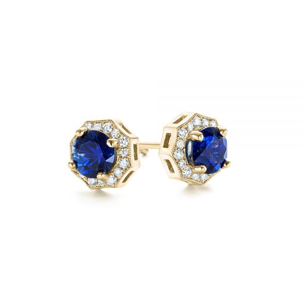 14k Yellow Gold 14k Yellow Gold Blue Sapphire And Diamond Halo Stud Earrings - Front View -  103512