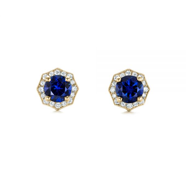 14k Yellow Gold 14k Yellow Gold Blue Sapphire And Diamond Halo Stud Earrings - Top View -  103512