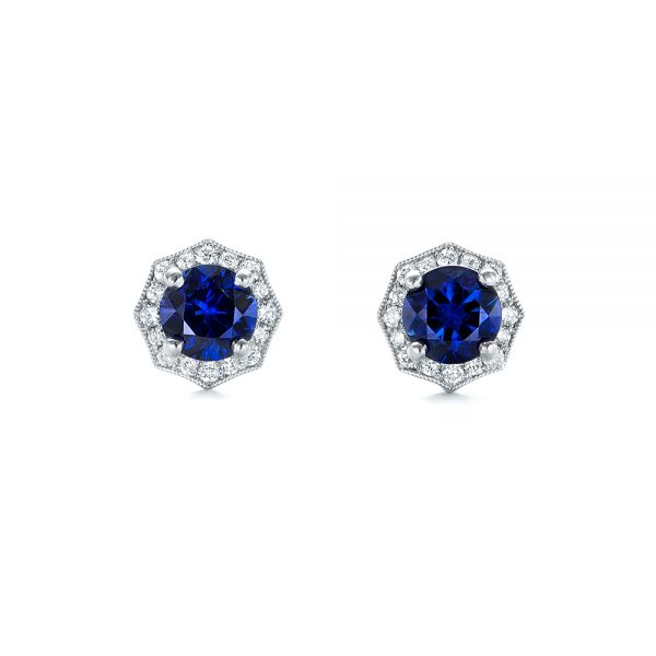 Blue Sapphire and Diamond Halo Stud Earrings - Image