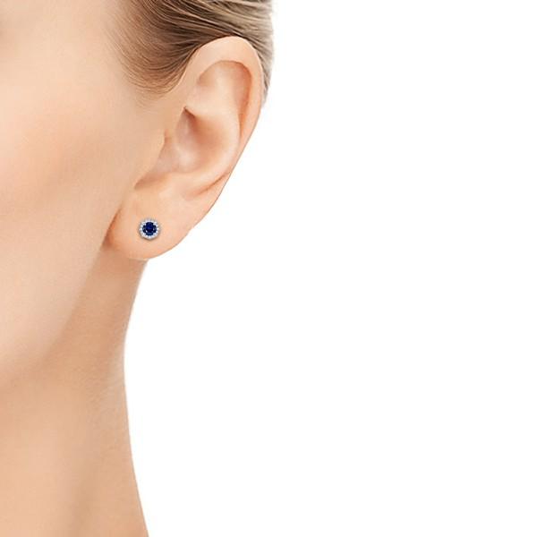Blue Sapphire and Diamond Halo Stud Earrings - Model View
