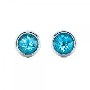 Blue Topaz Bezel Set Stud Earrings