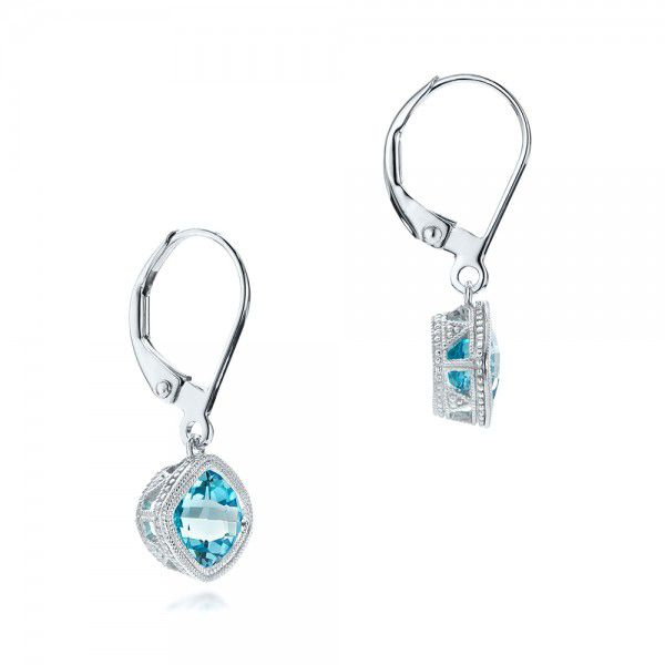 14k White Gold Blue Topaz Earrings - Front View -  102704