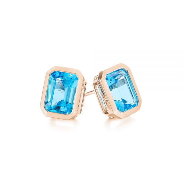 18k Rose Gold 18k Rose Gold Blue Topaz Emerald Cut Stud Earrings - Front View -  105440