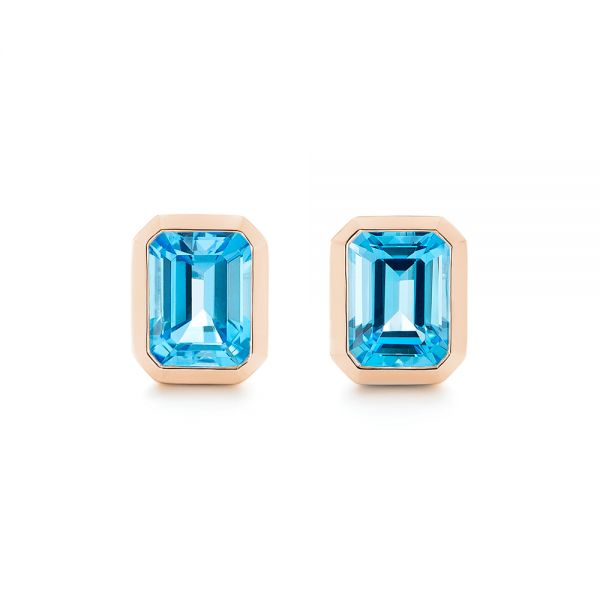 18k Rose Gold 18k Rose Gold Blue Topaz Emerald Cut Stud Earrings - Three-Quarter View -  105440