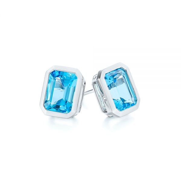 14k White Gold Blue Topaz Emerald Cut Stud Earrings - Front View -  105440
