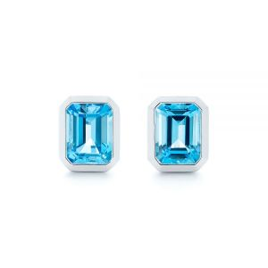 Blue Topaz Emerald Cut Stud Earrings - Image