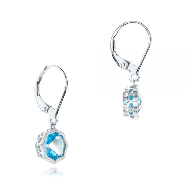 Blue Topaz Leverback Earrings - Front View -  102517 - Thumbnail