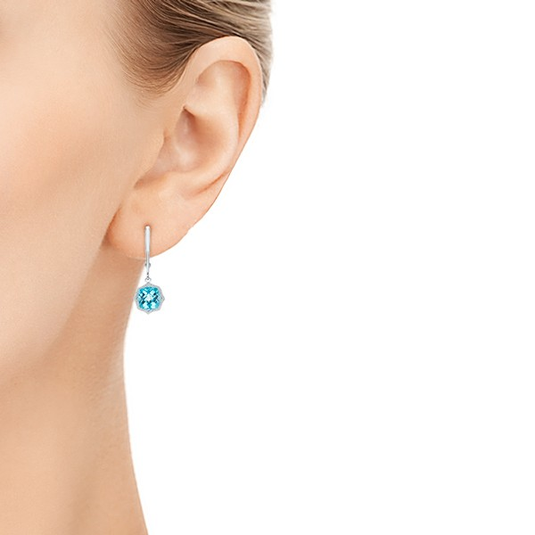 Blue Topaz Leverback Earrings - Hand View -  102517 - Thumbnail