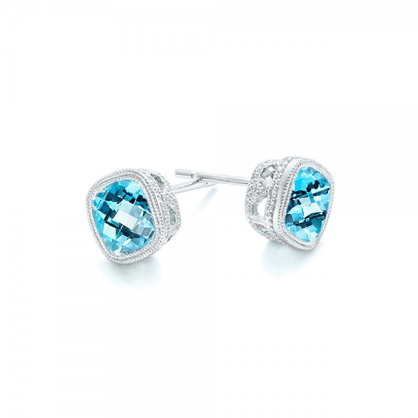 Blue Topaz Stud Earrings - Flat View -  103351 - Thumbnail