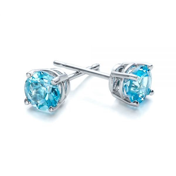 Blue Topaz Stud Earrings - Front View -  100929 - Thumbnail