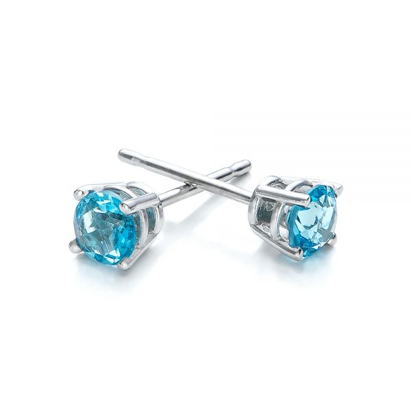 Blue Topaz Stud Earrings - Front View -