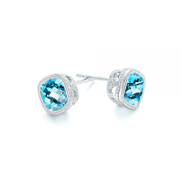 Blue Topaz Stud Earrings - Front View -  103351 - Thumbnail