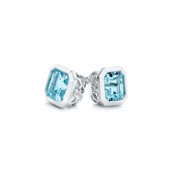 Blue Topaz Stud Earrings - Front View -  106037