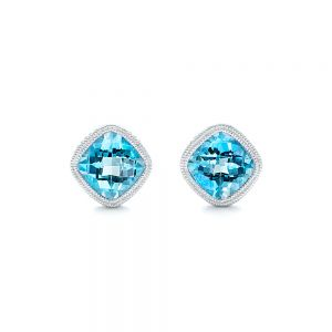 Blue Topaz Stud Earrings - Image