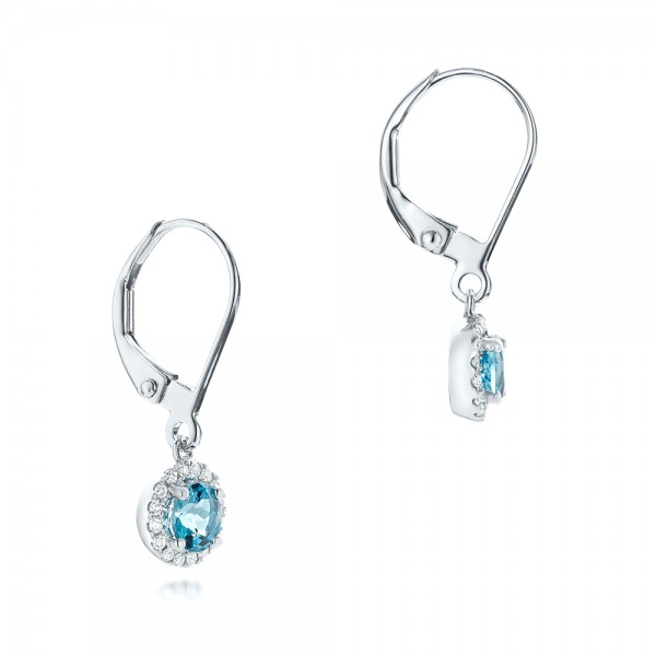 Blue Topaz and Diamond Halo Earrings - Flat View -  102609 - Thumbnail