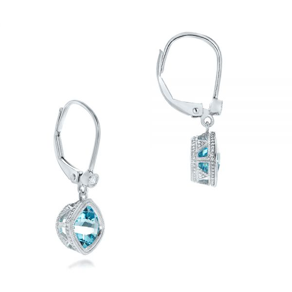 Blue Topaz and Diamond Earrings - Front View -  102624 - Thumbnail