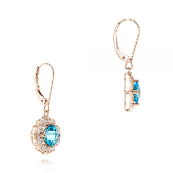14k Rose Gold 14k Rose Gold Blue Topaz And Diamond Halo Earrings - Front View -  103586