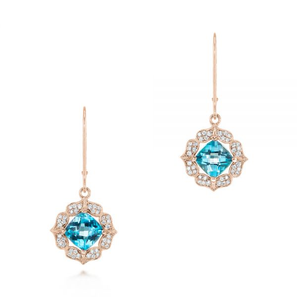 14k Rose Gold 14k Rose Gold Blue Topaz And Diamond Halo Earrings - Three-Quarter View -  103586