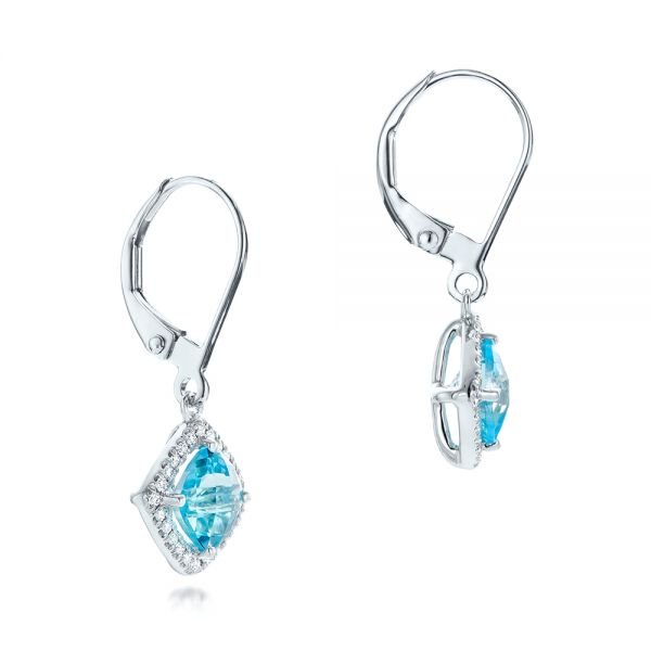 Blue Topaz And Diamond Halo Earrings - Front View -