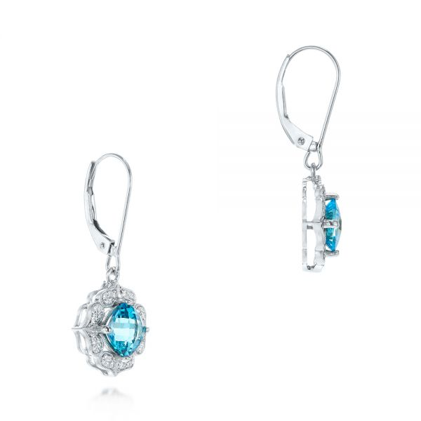 18k White Gold 18k White Gold Blue Topaz And Diamond Halo Earrings - Front View -  103586