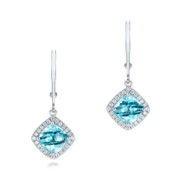 Blue Topaz And Diamond Halo Earrings - Three-Quarter View -