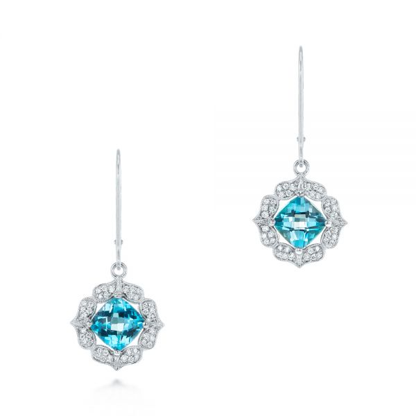 Blue Topaz and Diamond Halo Earrings - Image