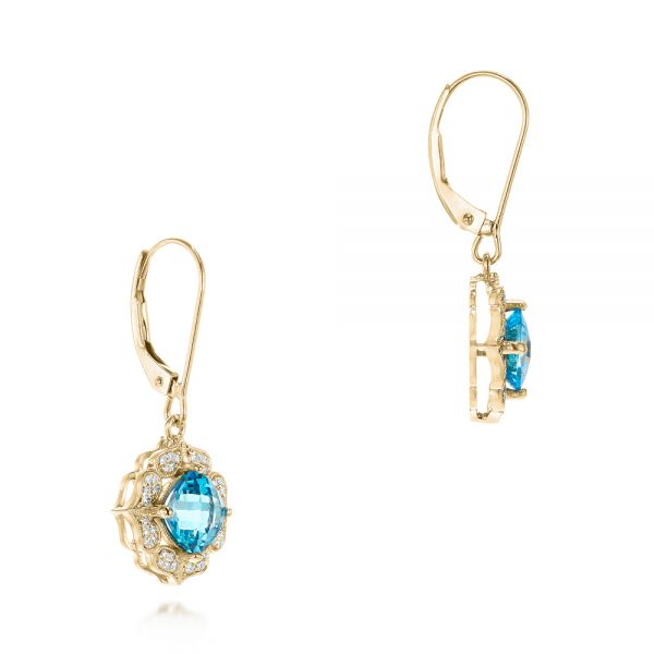 14k Yellow Gold 14k Yellow Gold Blue Topaz And Diamond Halo Earrings - Front View -  103586