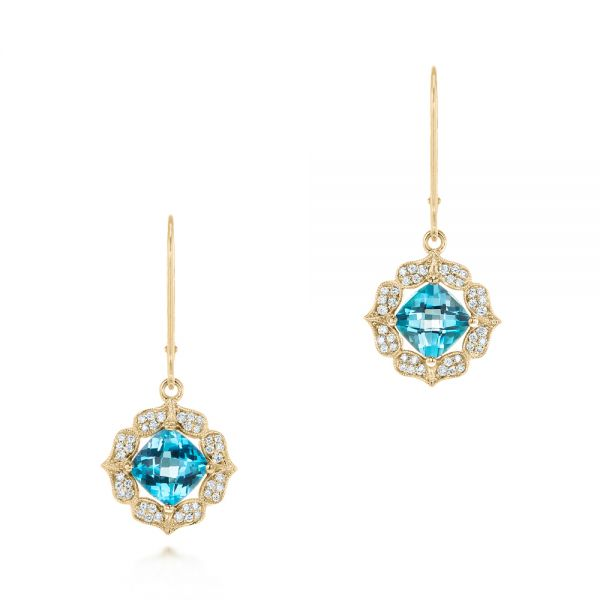 14k Yellow Gold 14k Yellow Gold Blue Topaz And Diamond Halo Earrings - Three-Quarter View -  103586