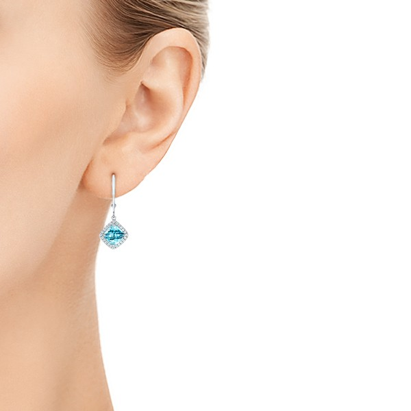 Blue Topaz and Diamond Halo Earrings - Model View