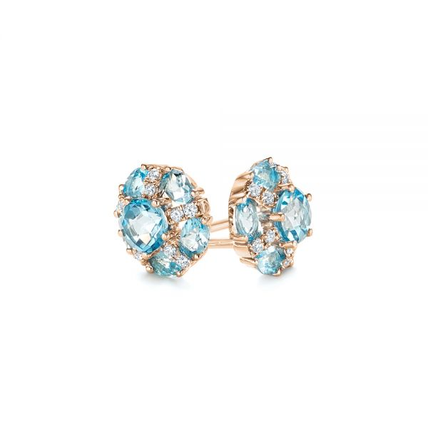 14k Rose Gold 14k Rose Gold Blue Topaz And Diamond Stud Earrings - Front View -  103728