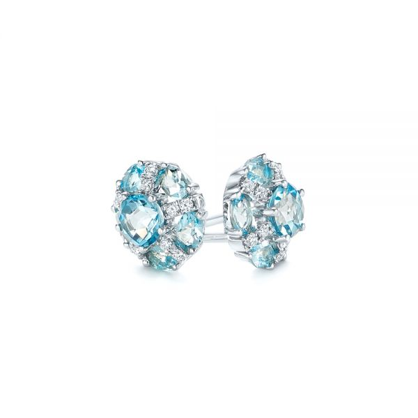 18k White Gold 18k White Gold Blue Topaz And Diamond Stud Earrings - Front View -  103728