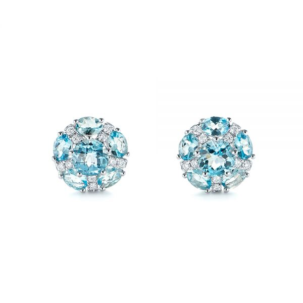 Blue Topaz and Diamond Stud Earrings - Image
