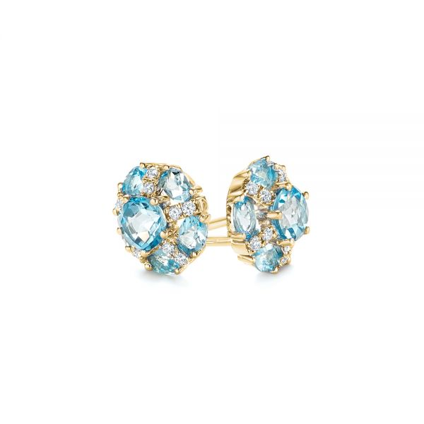 14k Yellow Gold 14k Yellow Gold Blue Topaz And Diamond Stud Earrings - Front View -  103728