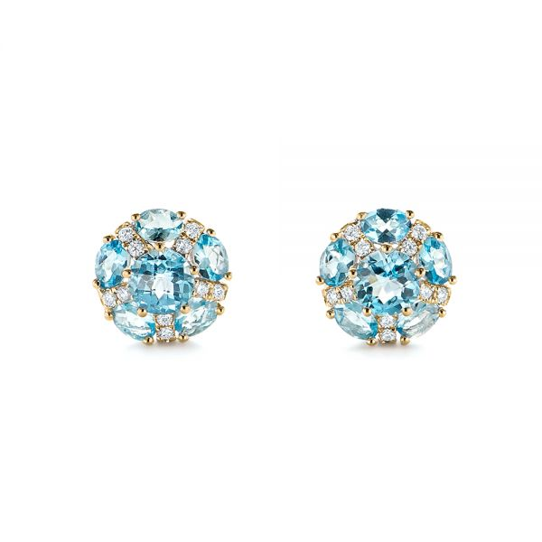 14k Yellow Gold 14k Yellow Gold Blue Topaz And Diamond Stud Earrings - Three-Quarter View -  103728