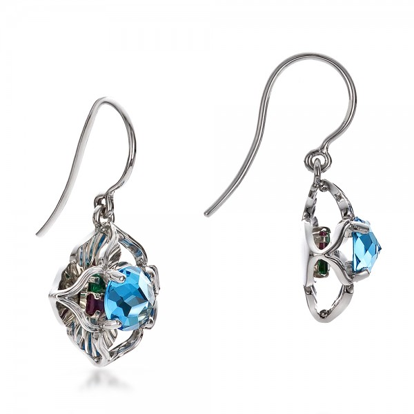 Blue Topaz and White Gold Earrings