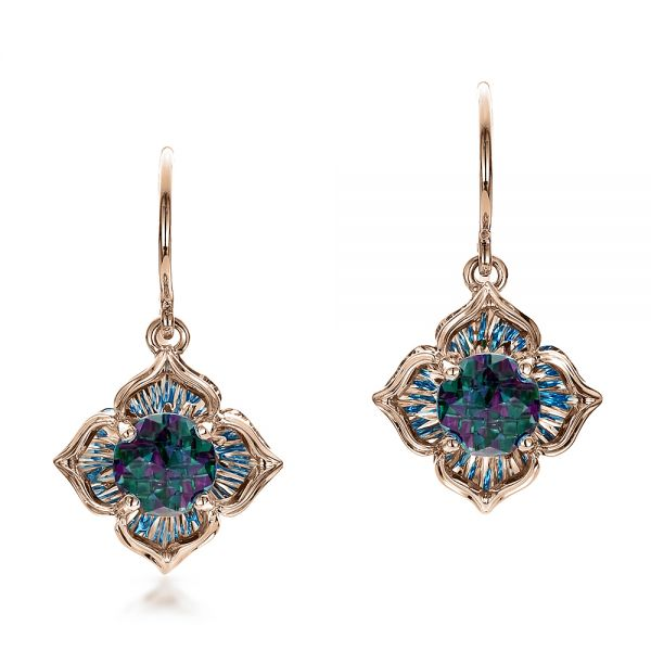 Blue Topaz and White Gold Earrings - Image