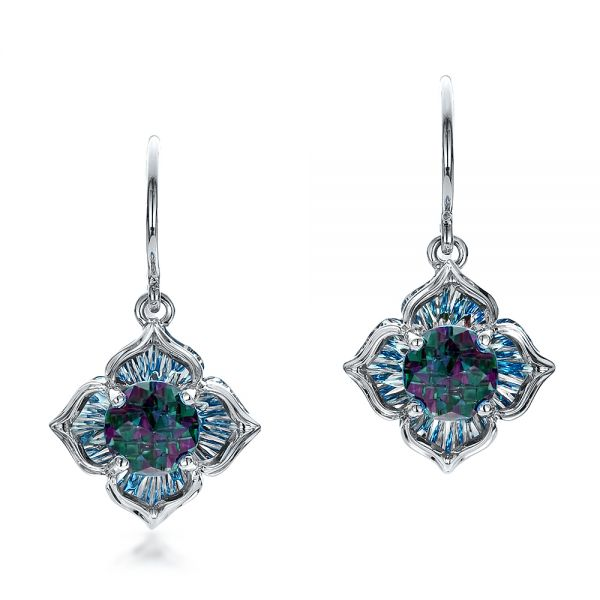 Blue Topaz Earrings - Three-Quarter View -