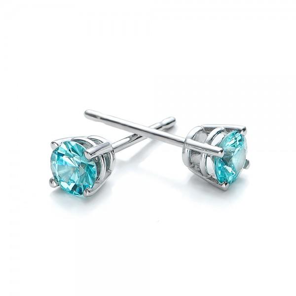 Blue Zircon Stud Earrings - Laying View